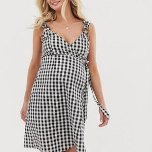 ASOS Maternity Gingham Linen Wrap Dress